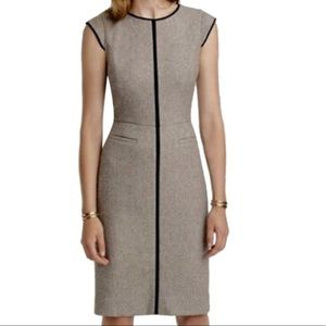 J. Crew Cap-sleeve dress in piped Donegal wool 6